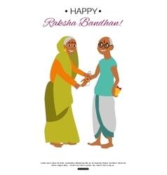 Brother and sister celebrating Raksha Bandhan vector image