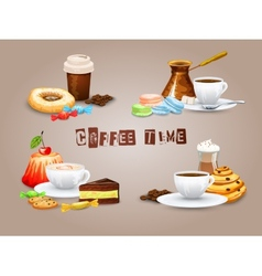Coffee decorative icons set vector