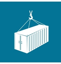 Container hanging on crane hook vector