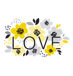 Contemporary spring floral design with yellow vector