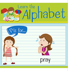 Flashcard letter p is for pray vector