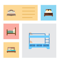 Flat mattress set of mattress bunk bed hostel vector