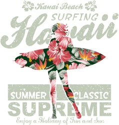 Floral Hawaii surfing vector image