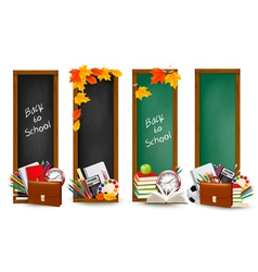 Four banners with school supplies vector image vector image