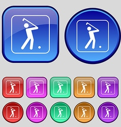 Golf icon sign A set of twelve vintage buttons for vector image