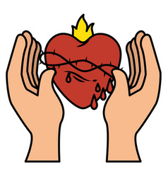 Hand human with sacred heart of jesus vector