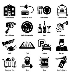 Hotel service icons set simple style vector