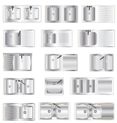 Kitchen Equipment Sinks top view set 1 vector image vector image