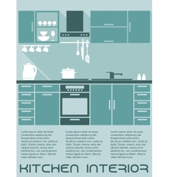 Kitchen flat interior design template vector image