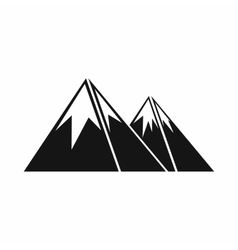 Mountains with snow icon simple style vector