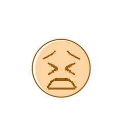 Sad cartoon face negative people emotion icon vector