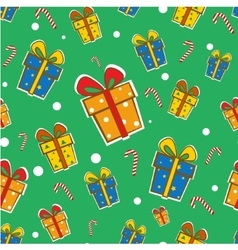 Seamless Gift Pattern on green background vector image vector image