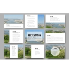 Set of 9 templates for presentation slides Nature vector image vector image