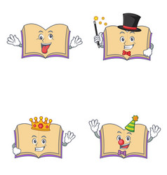 Set of open book character with crazy magician vector