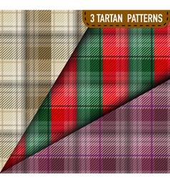 Set of three tartan plaid samples in vector