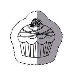 Silhouette muffin with chocolate and strawberry vector