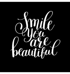 Smile you are beautiful phrase hand lettering vector