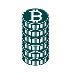 Stack of coin and currency symbol of baht thailand vector