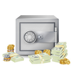 Steel safe security concept metal coins vector