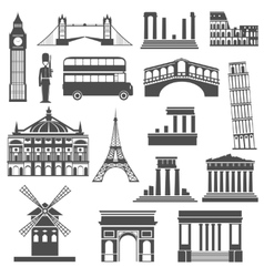 Travel landmark black icons set vector