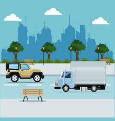 vehicles street city with park background vector image