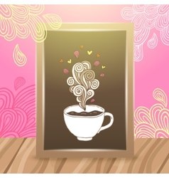 Wood frame on the desk with coffee vector