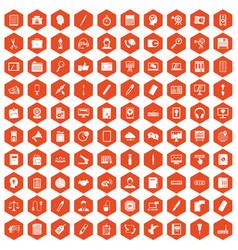 100 office work icons hexagon orange vector