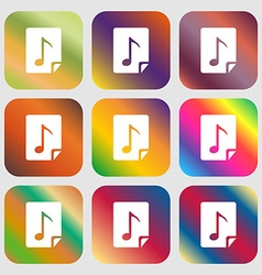 Audio mp3 file icon sign nine buttons with bright vector
