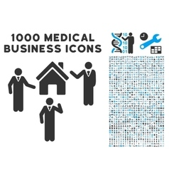 Realty discuss persons icon with 1000 medical vector