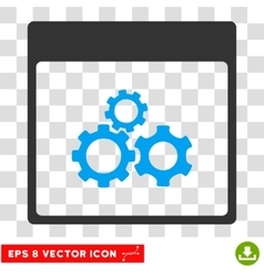 Mechanics gears calendar page eps icon vector