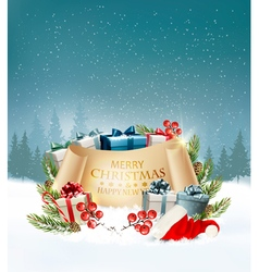 Holiday christmas background with a gift boxes and vector
