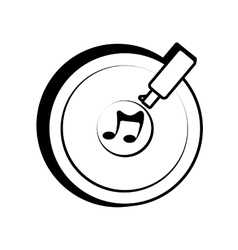 vinyl disc record music outline vector image