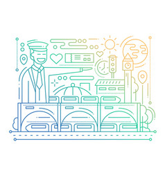 Railway station - line design composition - color vector