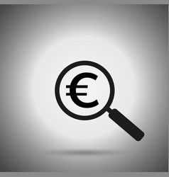 search money icon magnifier and euro symbol vector image