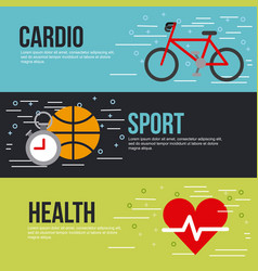 Cardio sport health lettering infographic vector