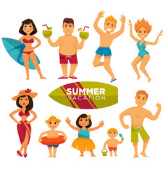 People in swimsuits on summer holidays colorful vector