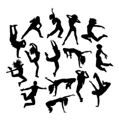Cool happy dancers silhouette vector