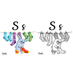 Sock alphabet letter s coloring page vector
