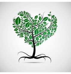 Heart shaped tree with green leaves vector