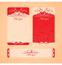 Set of cards with valentines day and wedding day vector