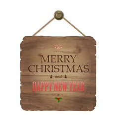 Wooden sing with christmas text vector