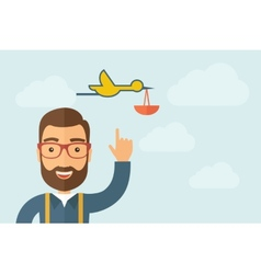 Man pointing the bird with basket icon vector