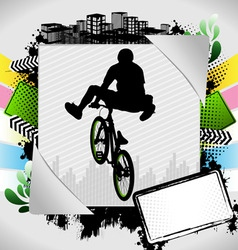 Bmx biker summer background vector
