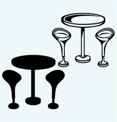 Modern bar table with two chairs vector