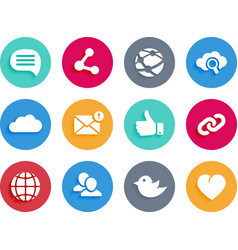 Internet and social icons in material design style vector