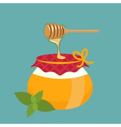 Honey pot and honey dipper with leaf vector