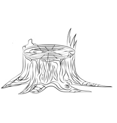 Hand drawn old stump black and white outline vector