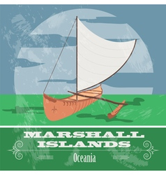 Marshall islands polynesian canoeing retro styled vector