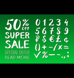 Numbers 0-9 written with a brush on a green vector