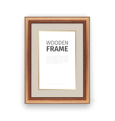 Wooden rectangle frame with gold vector